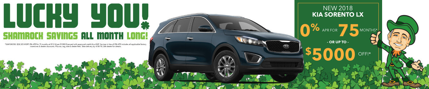 0% APR or up to $5000 off new 2018 Sorento