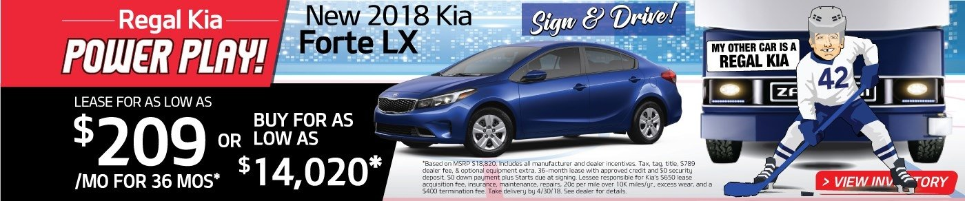 Sign & Drive a new 2018 Forte for just $209 a month! Or buy for as low as $14,020!