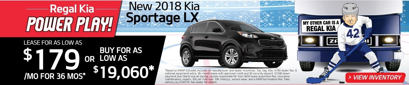Drive a new 2018 Sportage for just $179 a month! Or, buy for as low as $19,060!