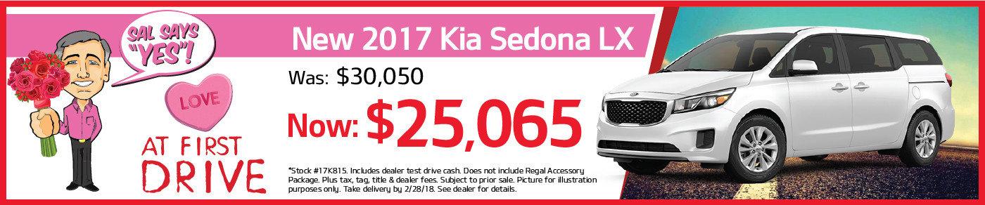 LOVE AT FIRST DRIVE! Big savings on the new 2017 Kia Sedona!