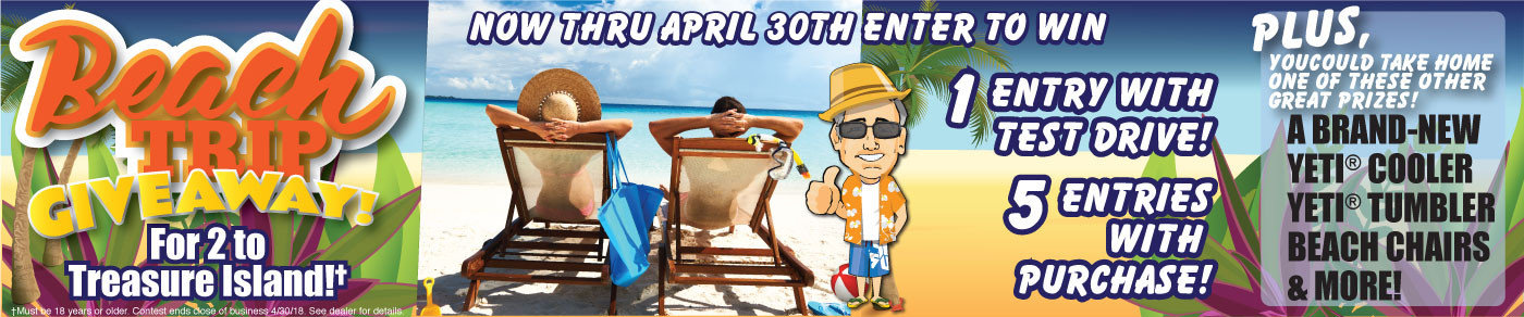 We're giving away a Treasure Island Beach Trip! Enter to win by April 30th!