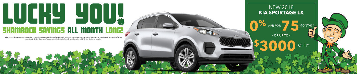 0% APR or up to $3000 off new 2018 Sportage