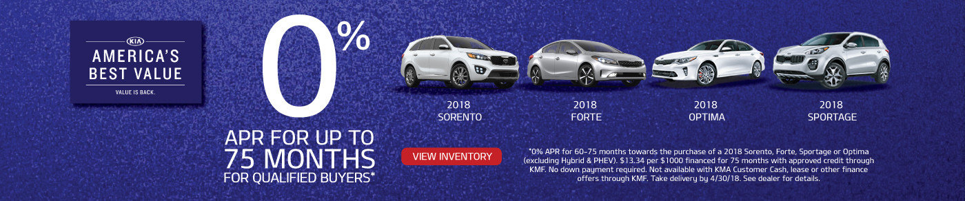 0% APR for 75 months on 2018 Fortes, Optimas, Sportages & Sorentos!