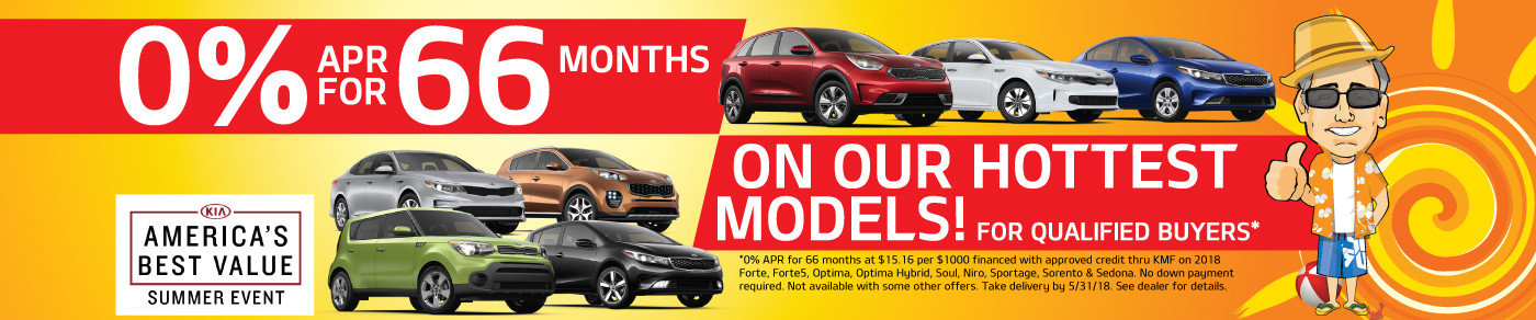 Get 0% APR up to 66 months on the HOTTEST Kia models during the America's Best Value Summer Event!