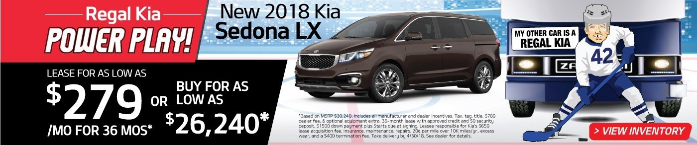 Drive a new 2018 Sedona for just $279 a month! Or, buy for as low as $26,240!