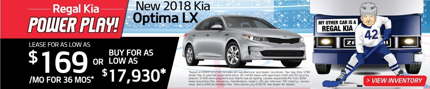 Drive a new 2018 Optima for just $169 a month! Or, buy for as low as $17,930!