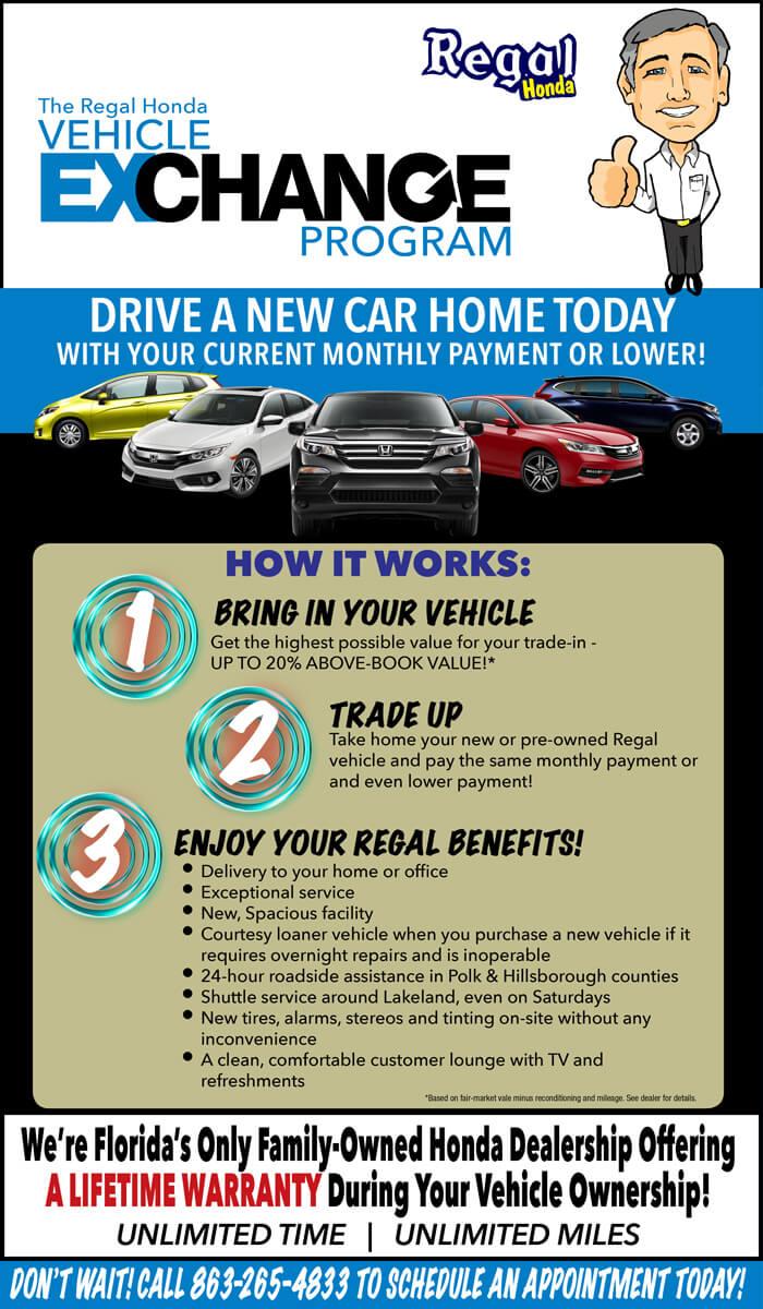 Regal Honda of Lakeland vehicle exchange flyer