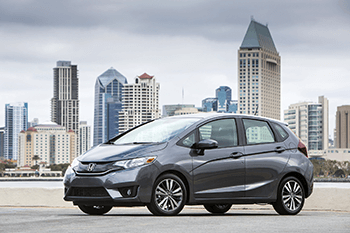 new honda fit parked out front of downtown Lakeland