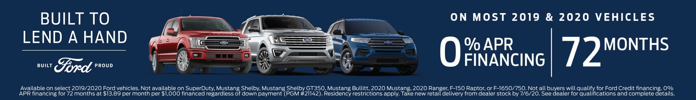 Ford F150, Expedition, Explorer 0% for 72 Offer Expires 7-6-2020