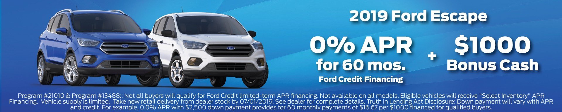 2019 Ford Escape Incentive 7-1-2019