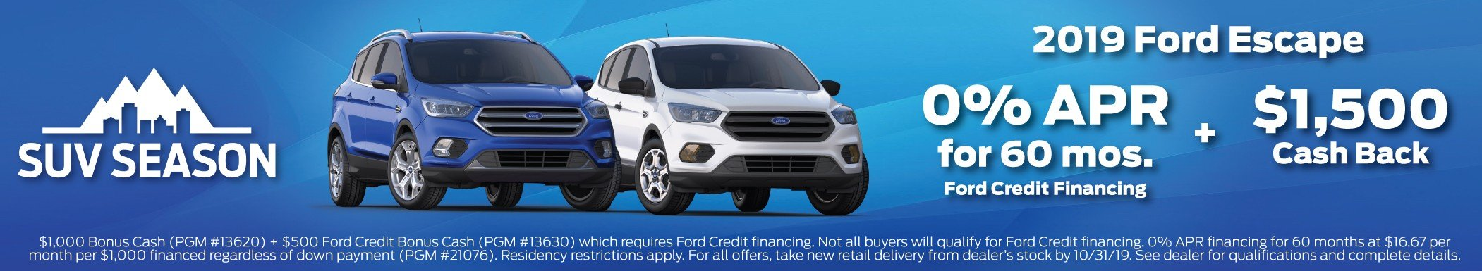 2019 Ford Escape Incentive 10-31-2019