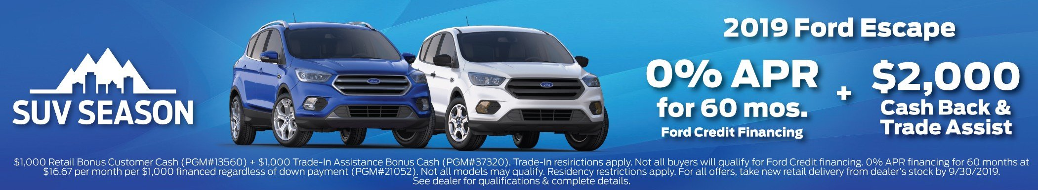 2019 Ford Escape Incentive 9-30-2019