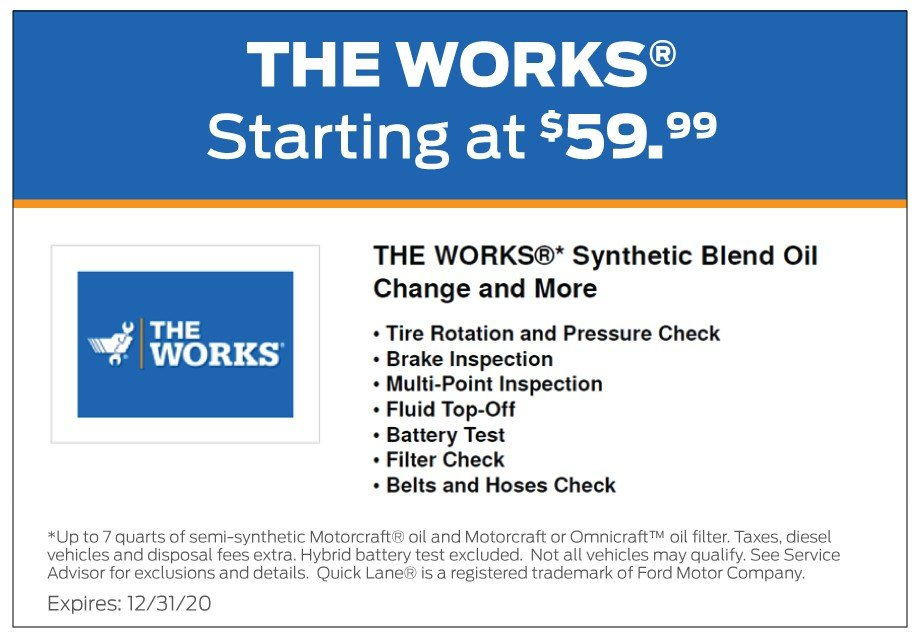 The Works Oil Change Coupon 12-2020