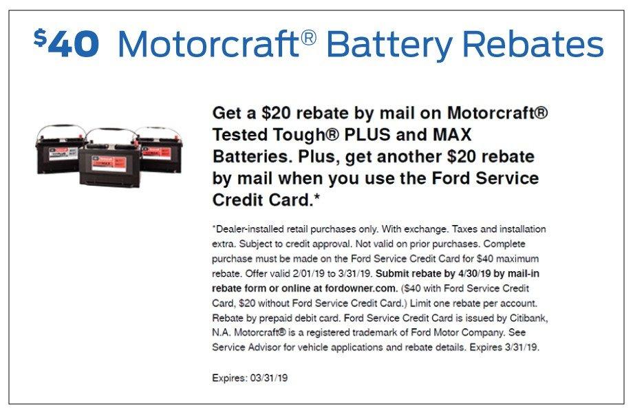 Bozard Ford Motorcraft Battery Rebate 2-2019