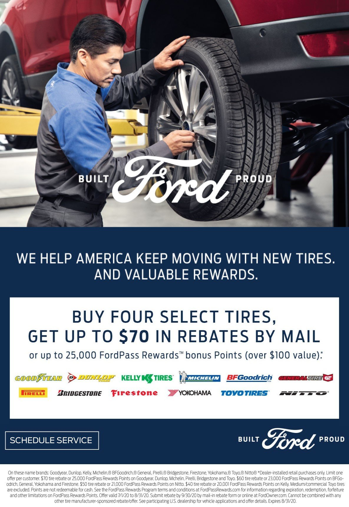 Ford Pass Rewards Tire Rebate Offer 8-31-2020 style=