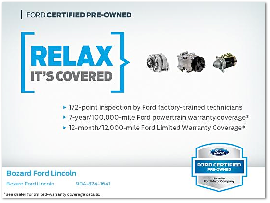 Ford Certified Pre Owned >> Ford Cpo Coverage Bozard Ford Lincoln
