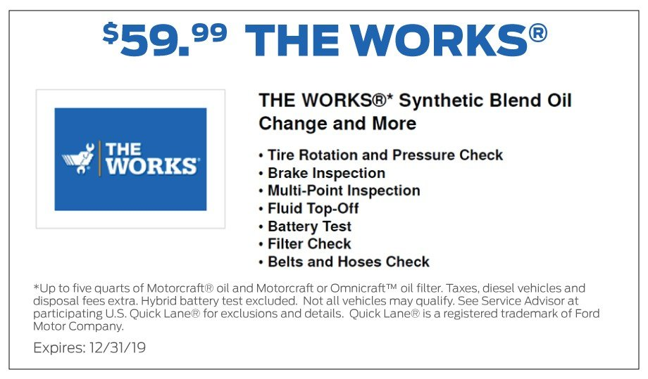 The Works Oil Change Coupon 12-2019