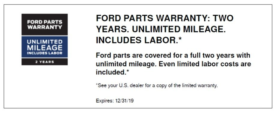 Ford Parts Warranty 2019