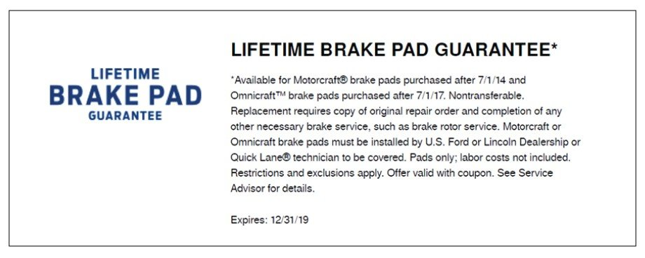 Lifetime Brake Pad Guarantee 2019