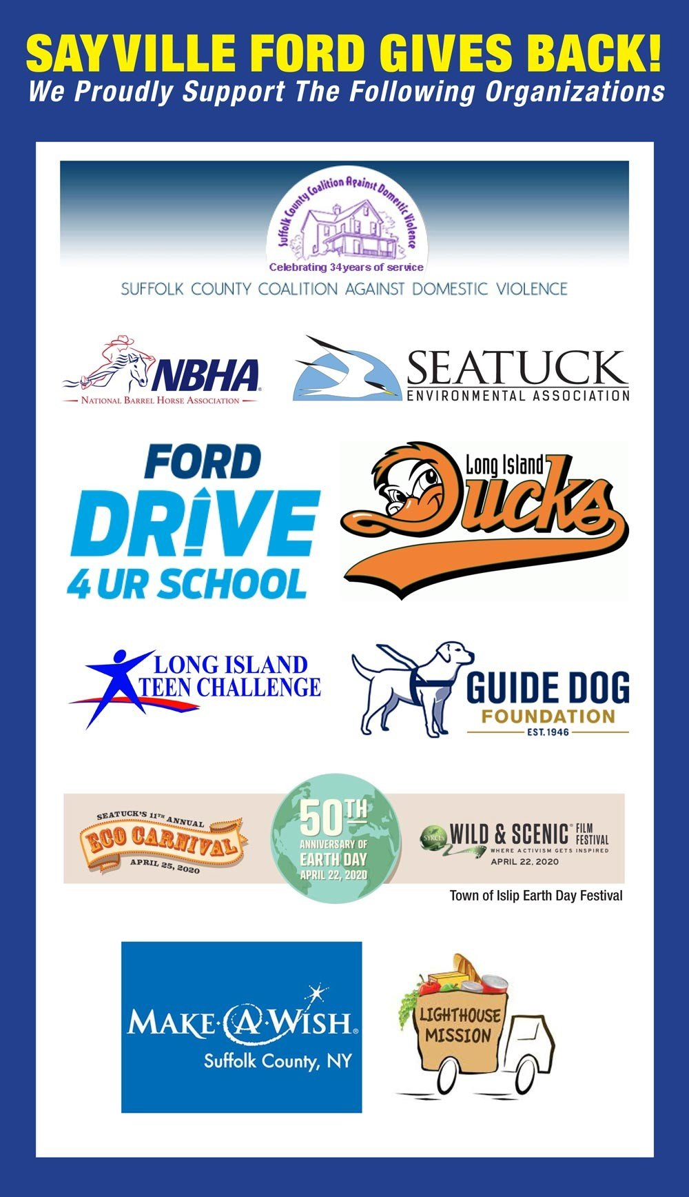 sayville ford gives back