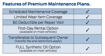 features of a Ford premium maintenance plan