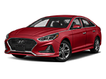 red 4-door hyundai sonata