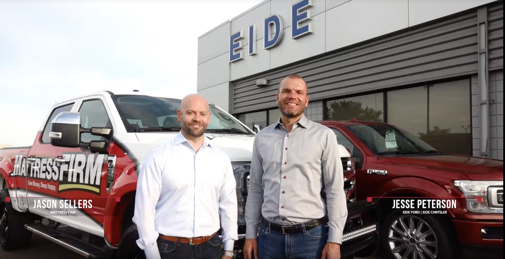 Jesse Peterson of Eide Chrysler and Eide Ford with Jason Sellers of Mattress Firm