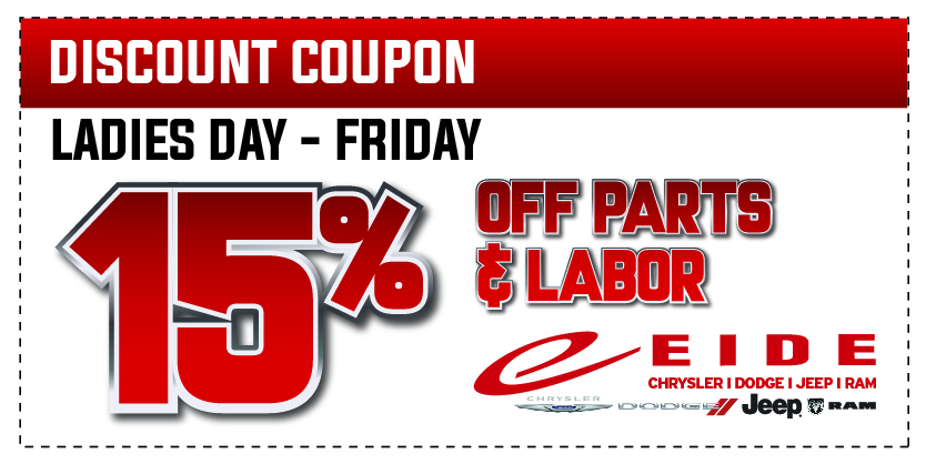 Coupon for Ladies Day - Friday 15% Off Parts and Labor