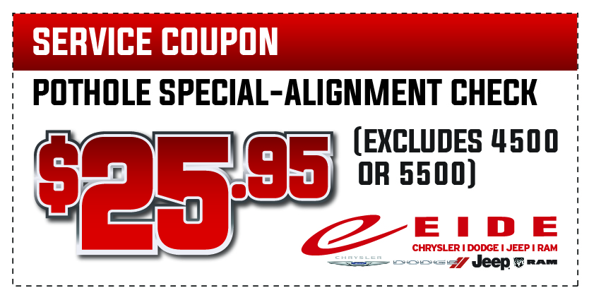 Coupon for Pothole Special Alignment Check