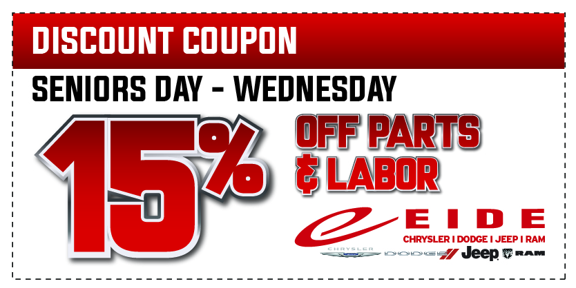 Coupon for Seniors Day - Wednesday 15% Off Parts and Labor