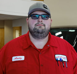 TECHNICIAN Andy Berning in Service at Eide Chrysler