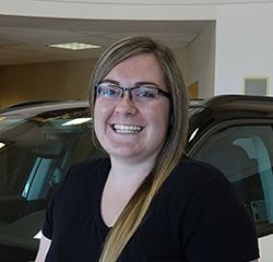 Head Cashier Kaitlyn Bakken in Service at Eide Chrysler