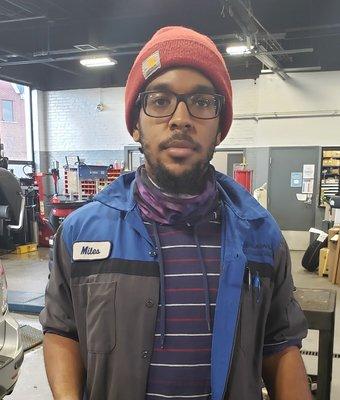 Technician Miles Dennison in Service at Garavel Subaru