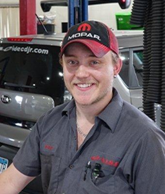 Technician Brandon Waldo in Service at Eide CDJR Pine City
