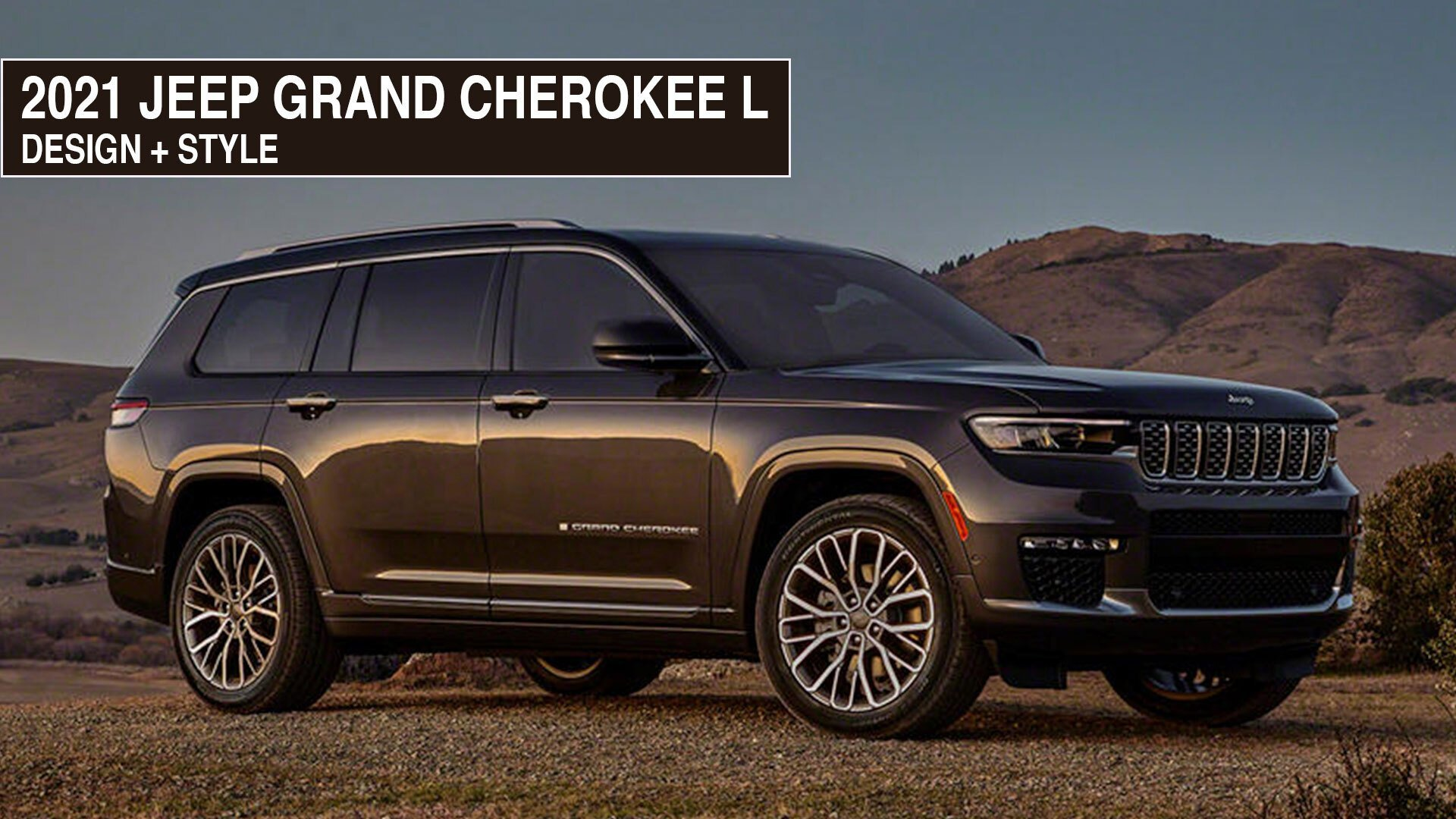 Design and style features of the new Jeep Grand Cherokee L placed in a desert.