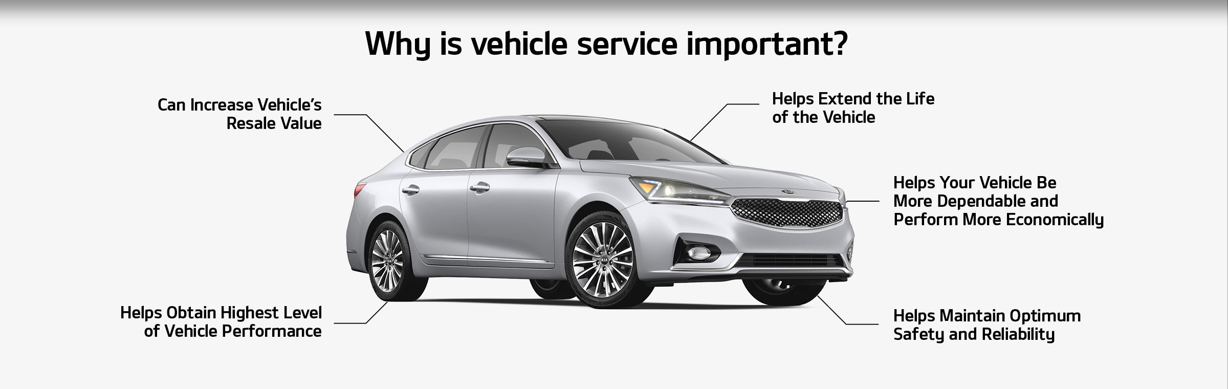 Why is vehicle service important? Can Increase Vehicle's Resale Value, Helps Obtain Highest Level of Vehicle Performance, Helps Extend the Life of the Vehicle, Helps Your Vehicle BeMore Dependable andPerform More Economically, and Helps Maintain Optimum Safety and Reliability.