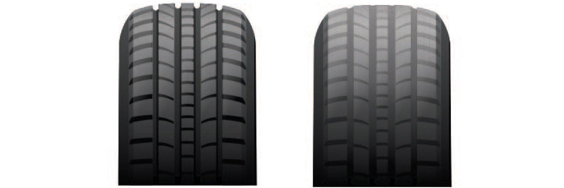 Tire tread depth comparison.