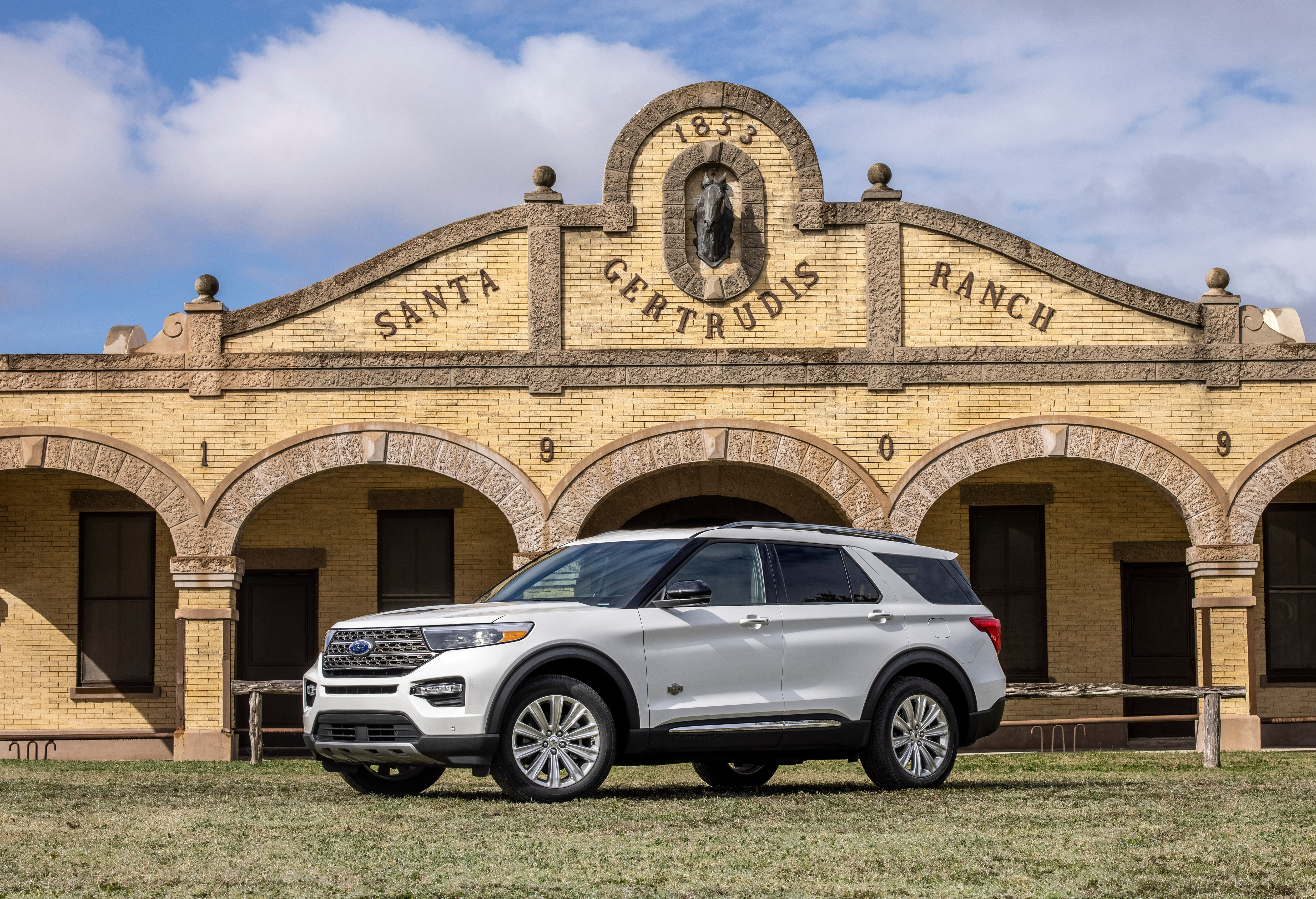 The new King Ranch Ford Explorer outside of the King Ranch in Texas.