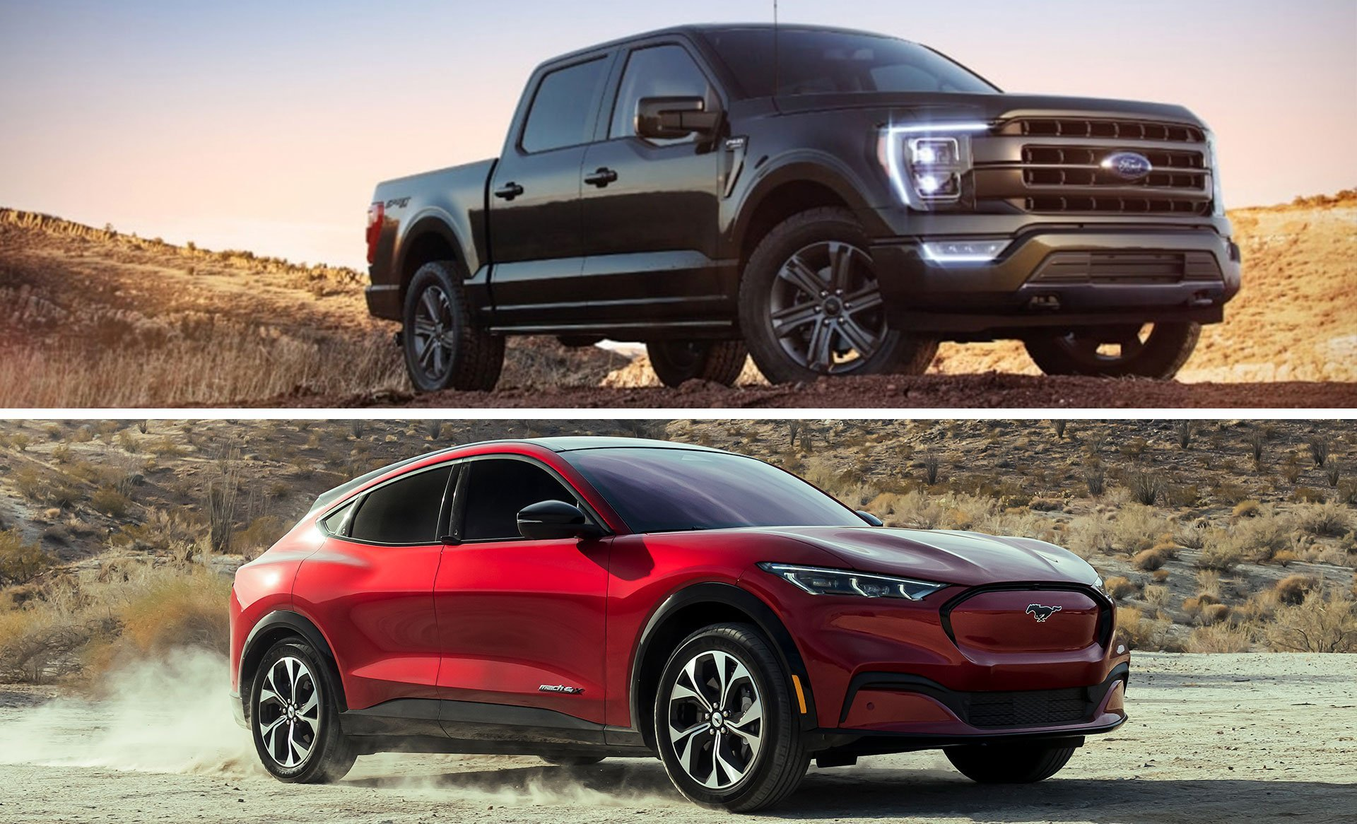 Ford F-150 and Mustang Mach E collage