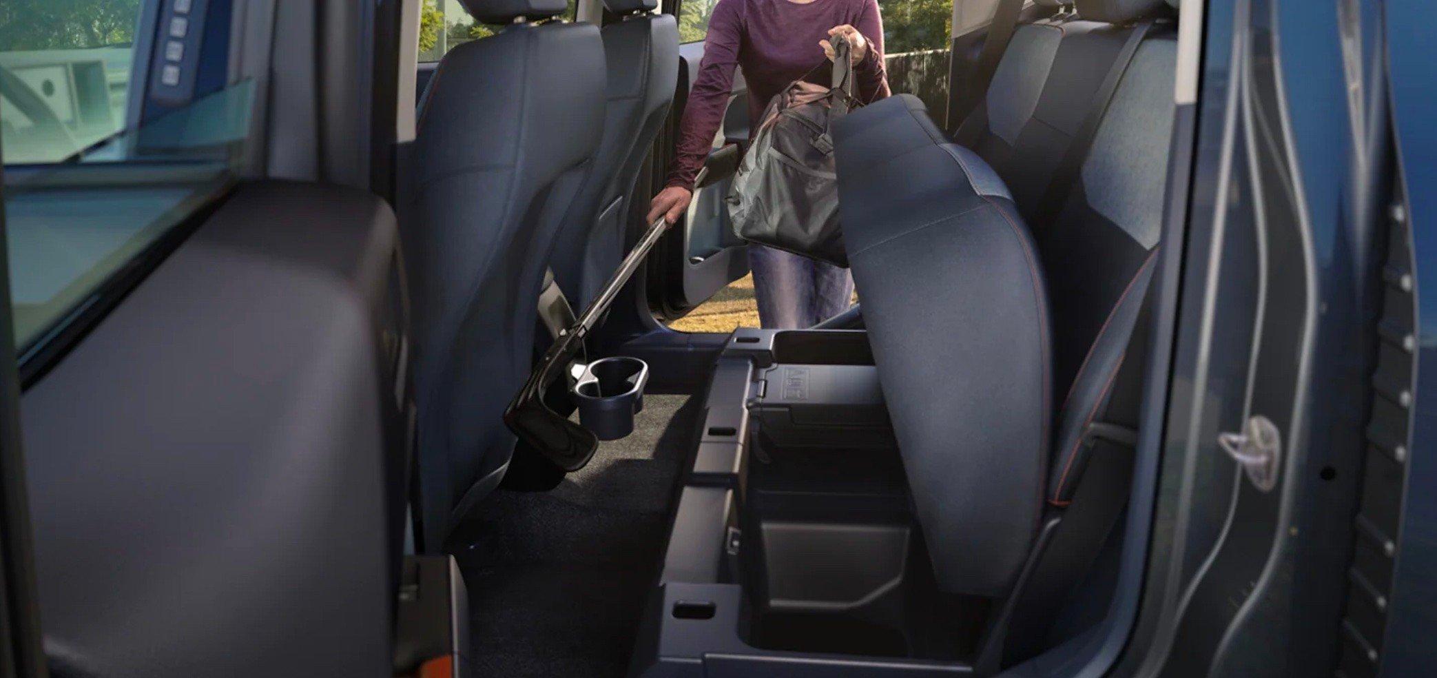 Standard under-backseat storage in the Ford Maverick