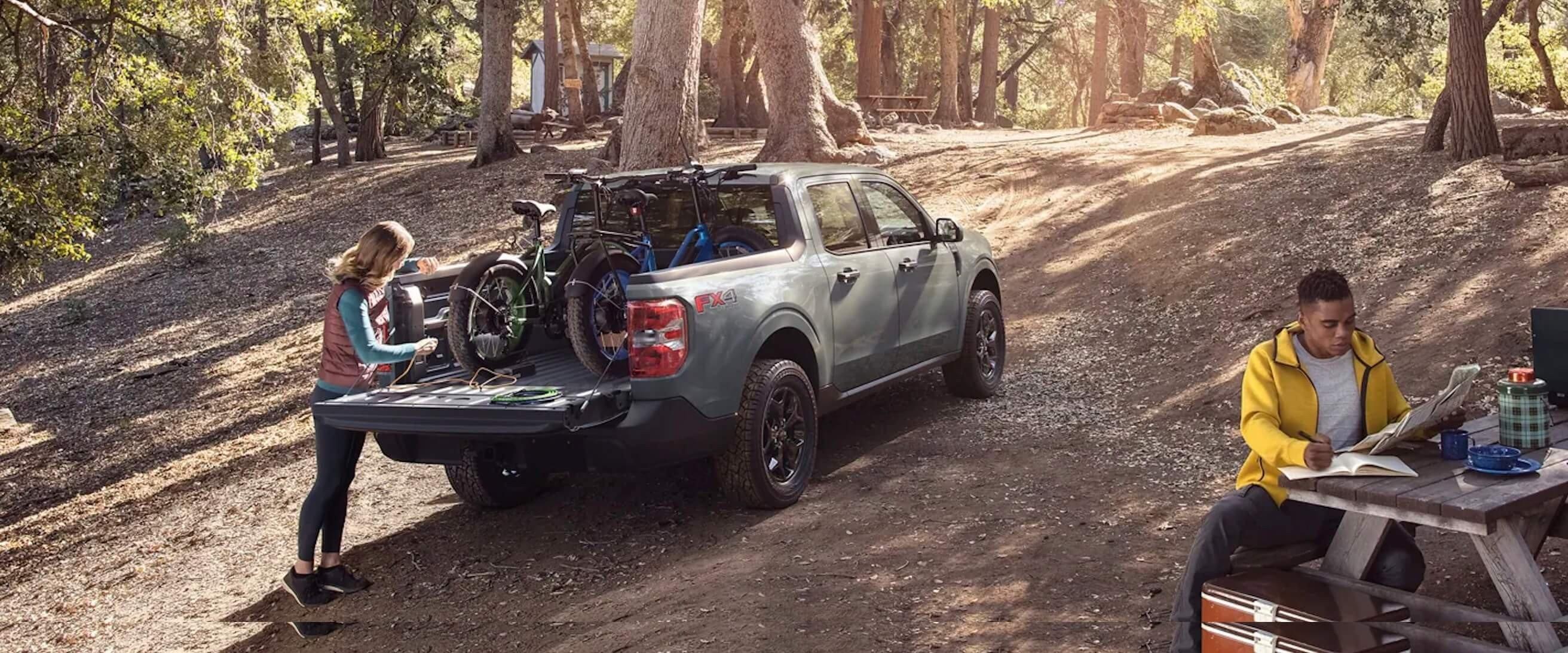 Ford Maverick used camping and hauling bicycles