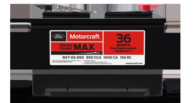 MOTORCRAFT® TESTED TOUGH® MAX BATTERIES, STARTING AT $134.95 MSRP.**