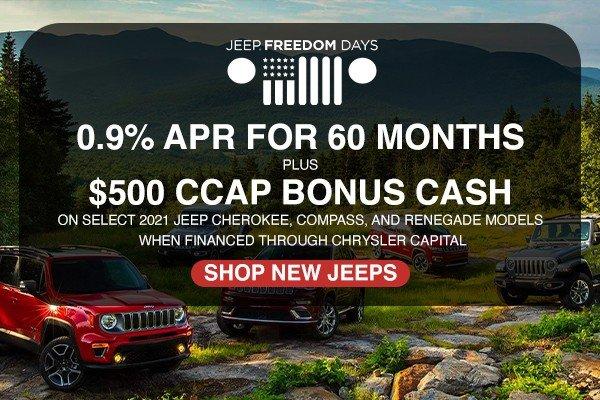Special offer on 2021 Jeep Compass 0.9% APR FOR 60 MONTHS PLUS $500 CCAP BONUS CASH