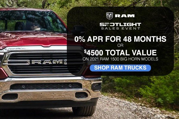 Special offer on 2021 Ram 1500 Classic 0% APR FOR 48 MONTHS OR $4500 TOTAL VALUE