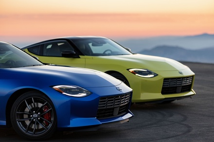 The new 2023 Nissan Z shown in Sport (Blue) and Proto Spec (Yellow) Editions