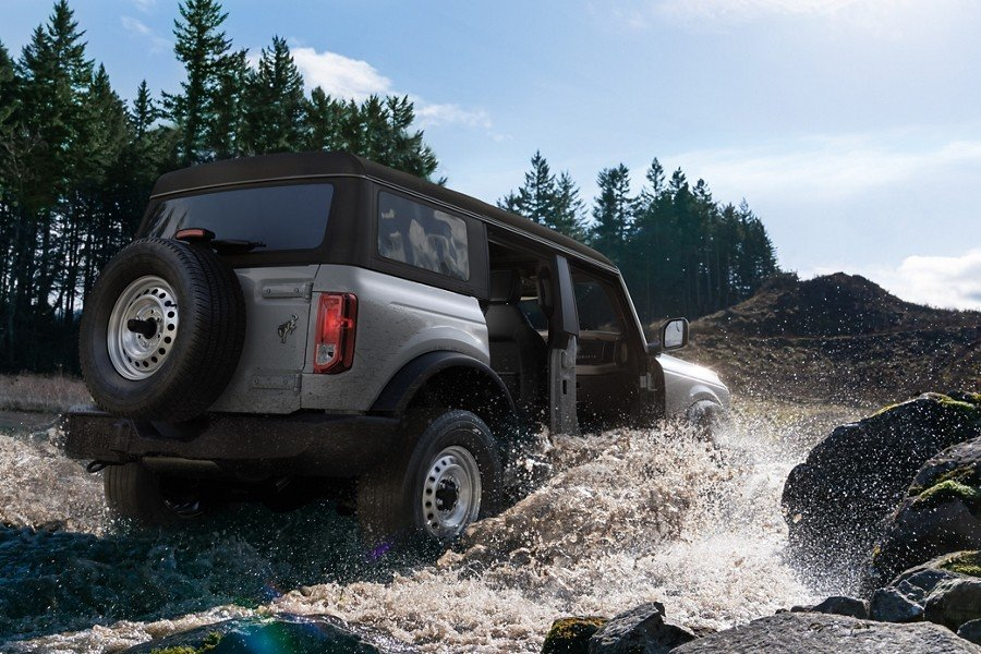 ford bronco driving through water