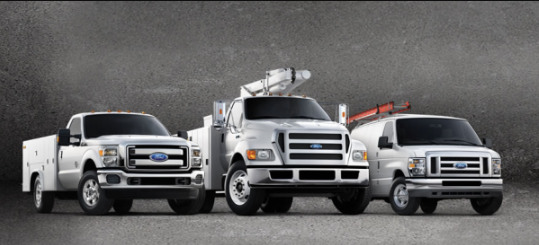 A lineup of Ford fleet and diesel vehicles