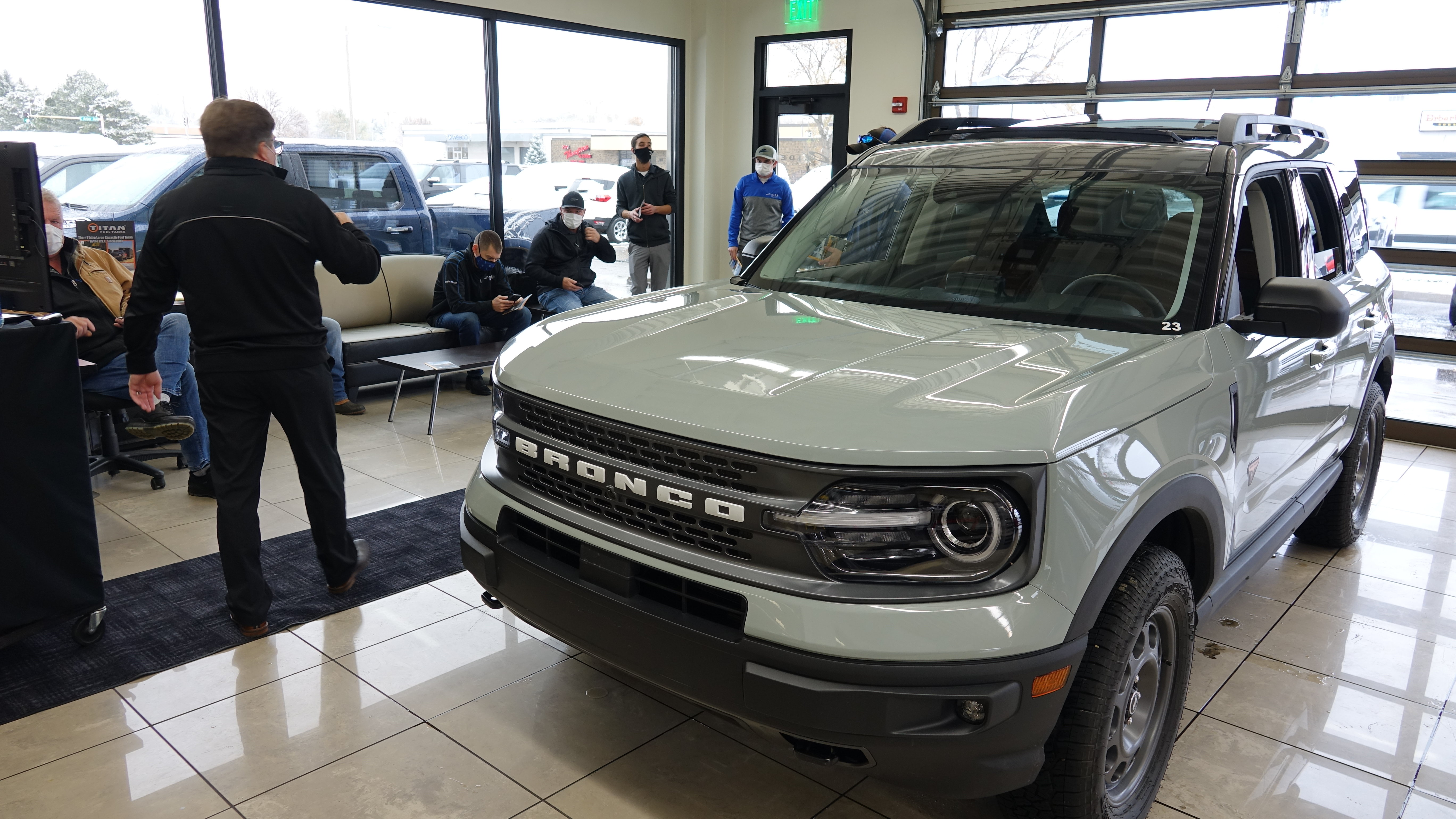 The all-new 2021 Ford Bronco Sport in the Eide Ford showroom in Bismarck.