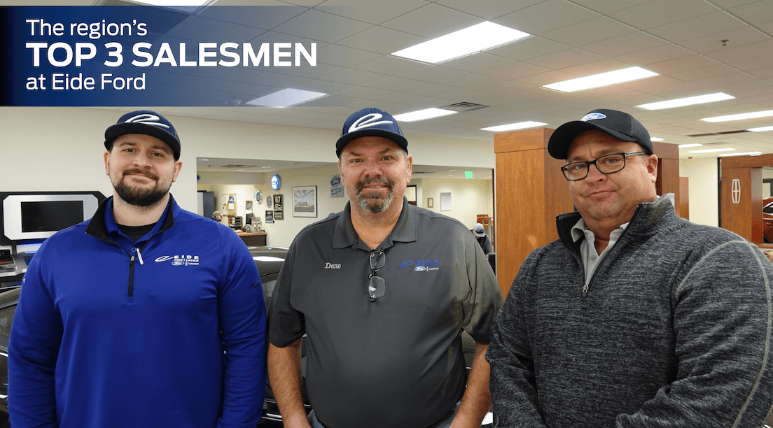 Ben Mayher, Deno Muller, and Jason Bjorndahl at Eide Ford