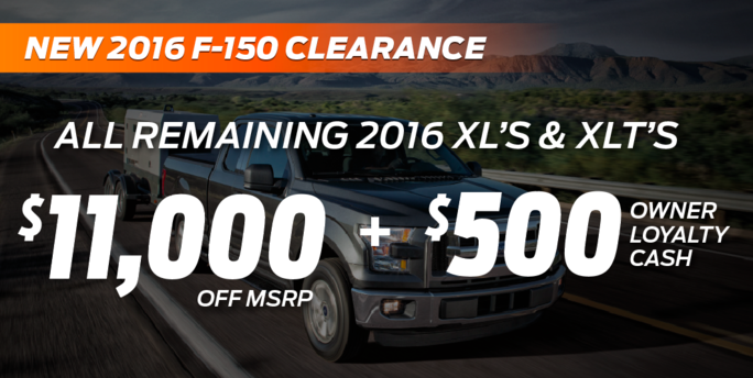 new 2016 F-150 clearance